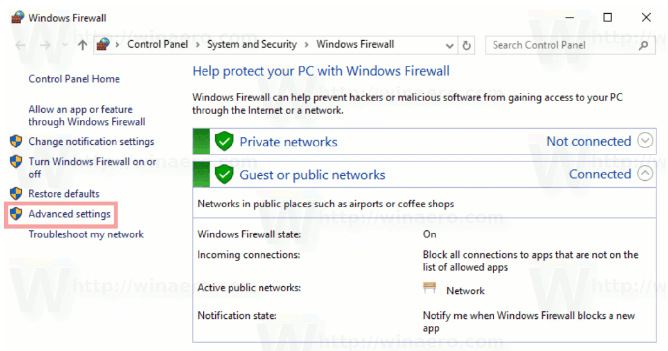 Step 1 to Block Windows Firewall port is to click the Advanced Settings link
