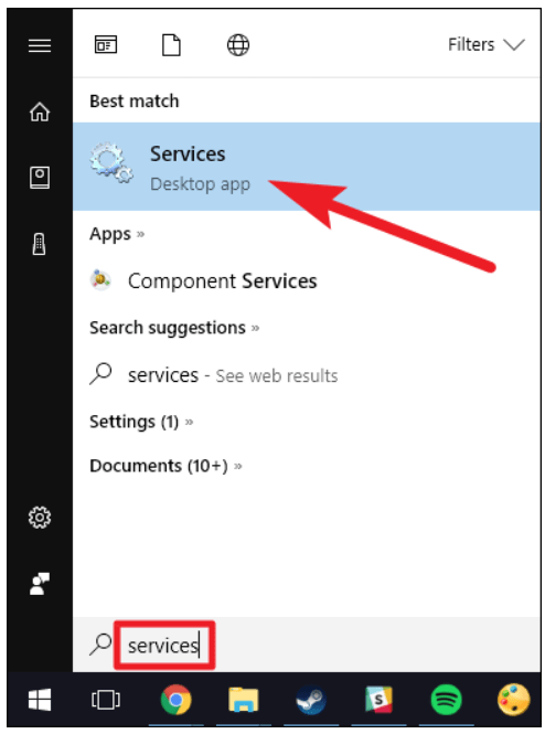 Step 1 to delete Windows service is to Open Services
