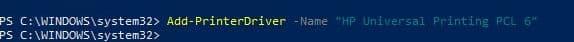use cmdlt Add PrinterDriver Name