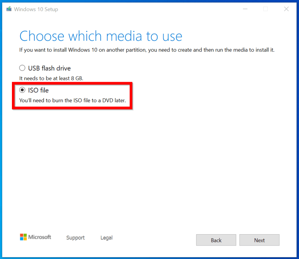 Upgrade Windows 10 Build from the Command Line. Choose ISO file option