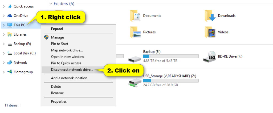 Map Network Drive How to disconnect mapped drive