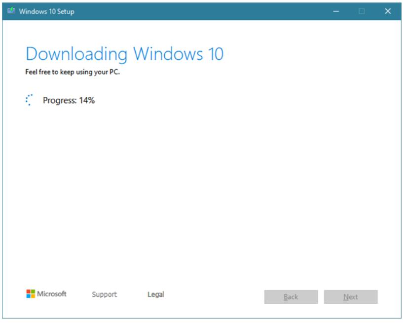 Media Creation Tool downloading the Windows 10 process