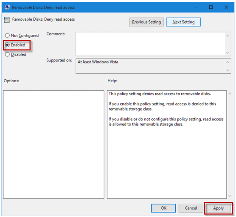 enable Removable disks Deny Write Access