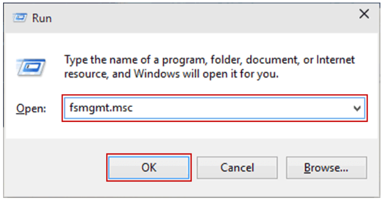 Solution 1 to disable file sharing is to open the fsmgmt.msc