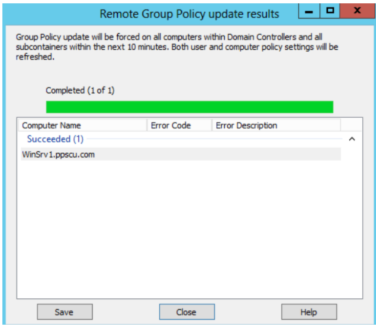 remote grop policy update results