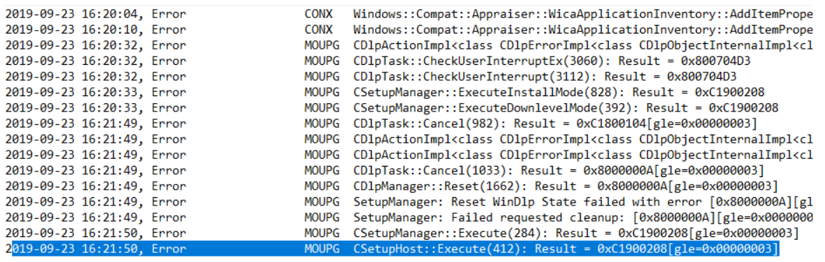Upgrade Windows 10 Build from the Command Line. Setuperr log