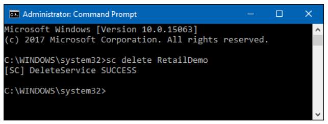 Step 4 to delete Windows service is to Input command