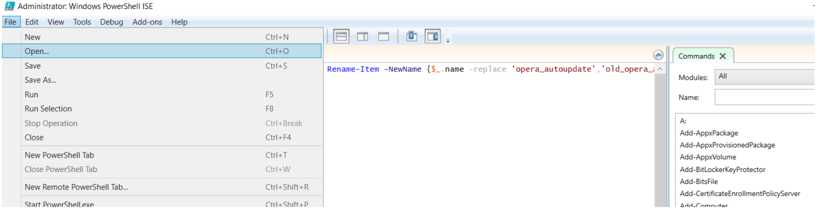 Run Remote Powershell Script as Administrator. Select Open from the File menu to load your script