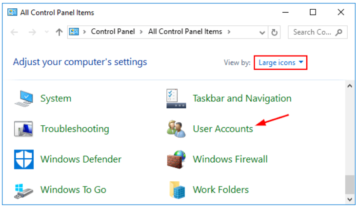 First step to Disable User Account Control is to Open User Accounts