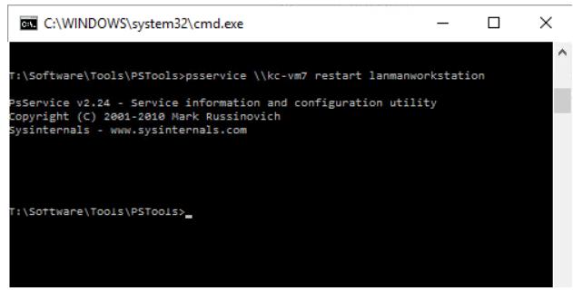 psservice to restart service
