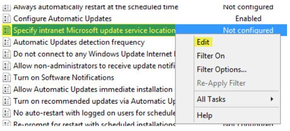 Specify intranet Microsoft update service location