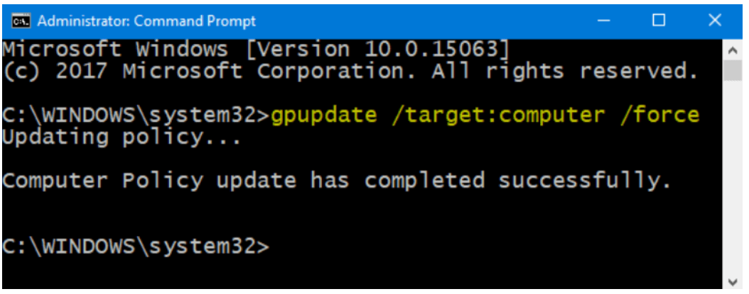 Run the gpupdate target computer command