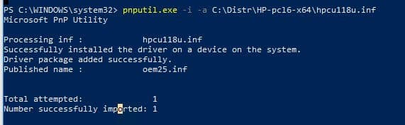 Next step to Work With Remote Network Printer is to using utility pnputil