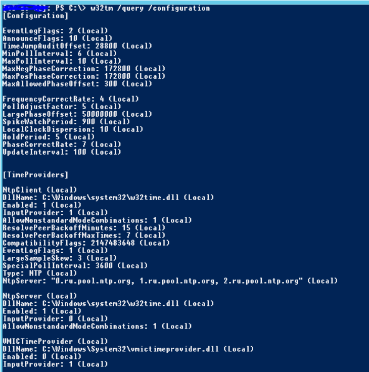 NTP via Powershell. View current time service settings