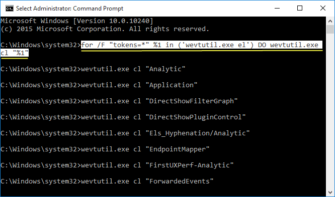 Solution 1 to Clear Event Viewer Logs is Using cmd