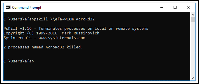 The last step to kill process remotely is to use pskill command