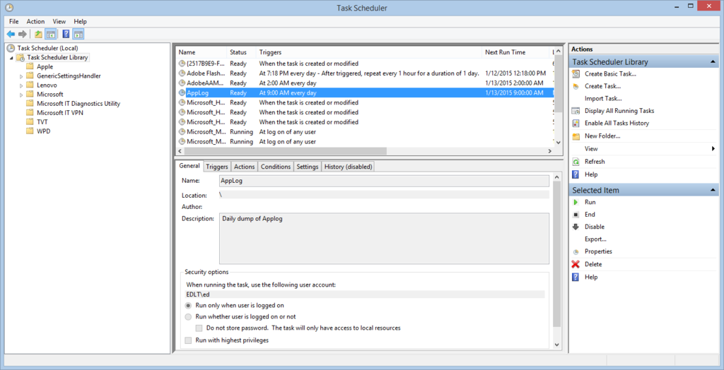Step 2 to Create Scheduled Task Remotely is to Check Task Scheduler node