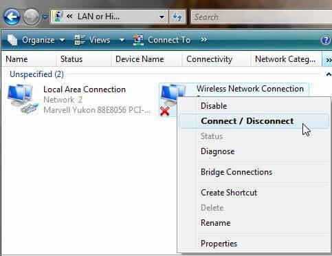 disable the network connection