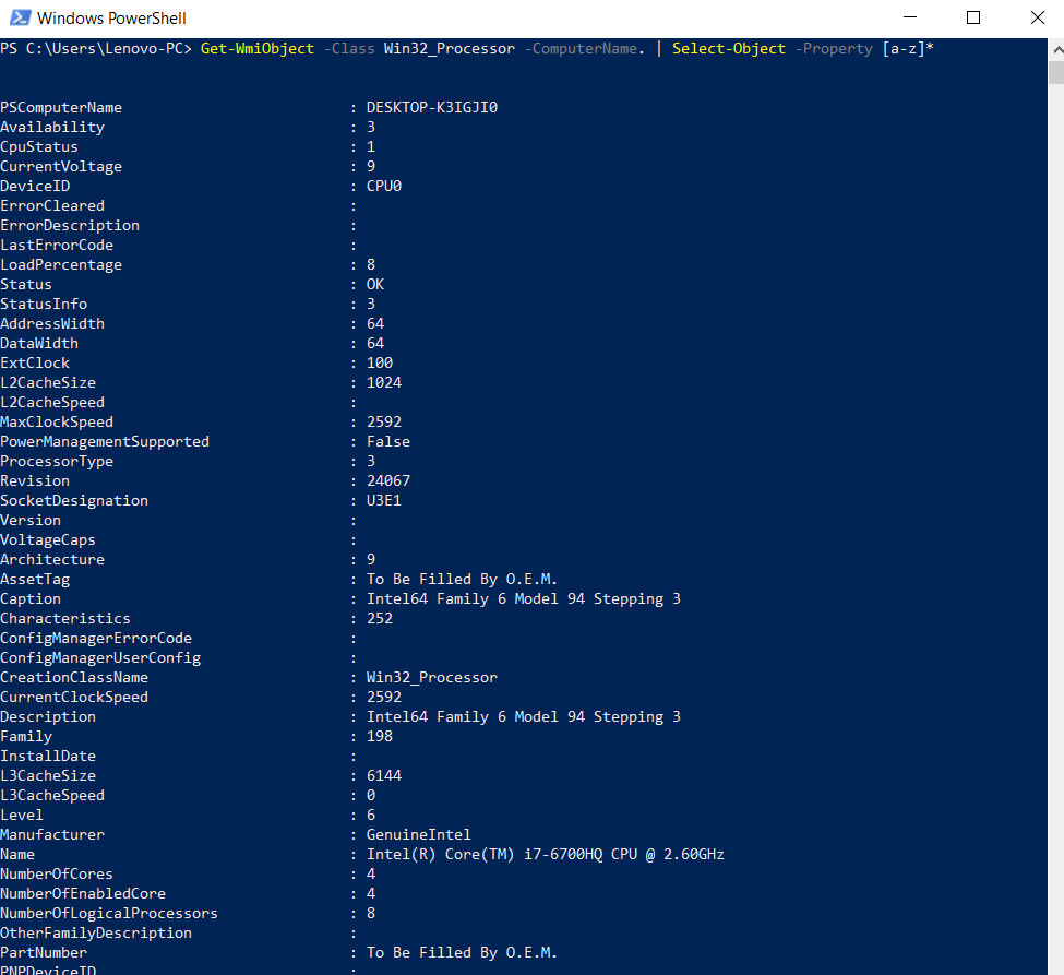 Powershell get cpu information. General information about the processor