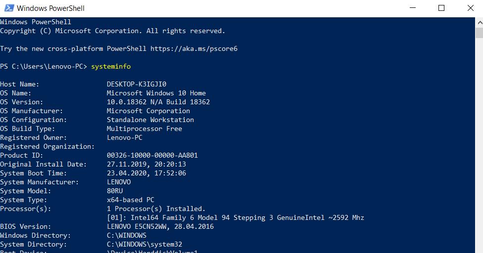 Get Processor Information in Windows Powershell