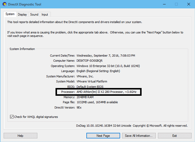 Get Processor Information in the Dxdiag Diagnostic Tool
