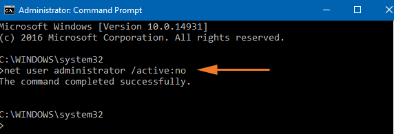 Step 1 to disable Built-in Administrator Account is to use net user administrator active no key