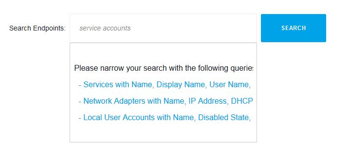 search service accounts