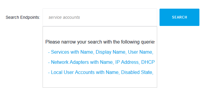 Action1 allows to find all Exchange service accounts used on multiple endpoints or manage service account passwords and perform maintenance operations. - search query